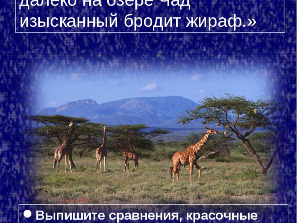 Стихотворение «Жираф», 1907 г. «Ты плачешь? Послушай… далёко на озере Чад изы...