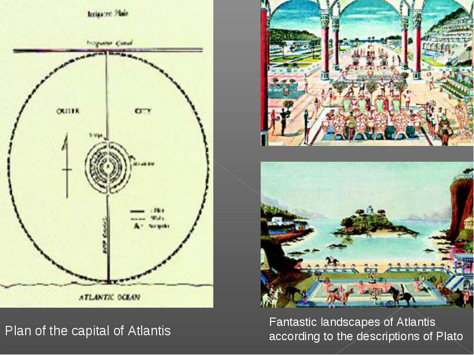 Fantastic landscapes of Atlantis according to the descriptions of Plato Plan ...