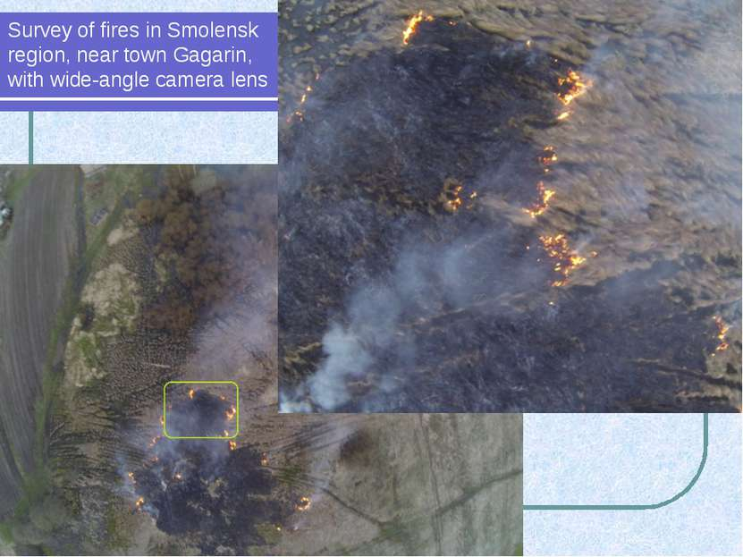 Survey of fires in Smolensk region, near town Gagarin, with wide-angle camera...