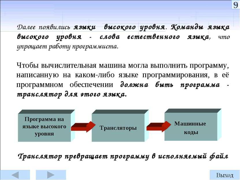 Далее появились языки высокого уровня. Команды языка высокого уровня - слова ...