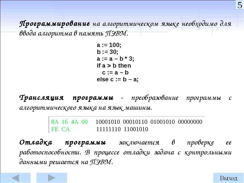 Программирование на алгоритмическом языке необходимо для ввода алгоритма в па...