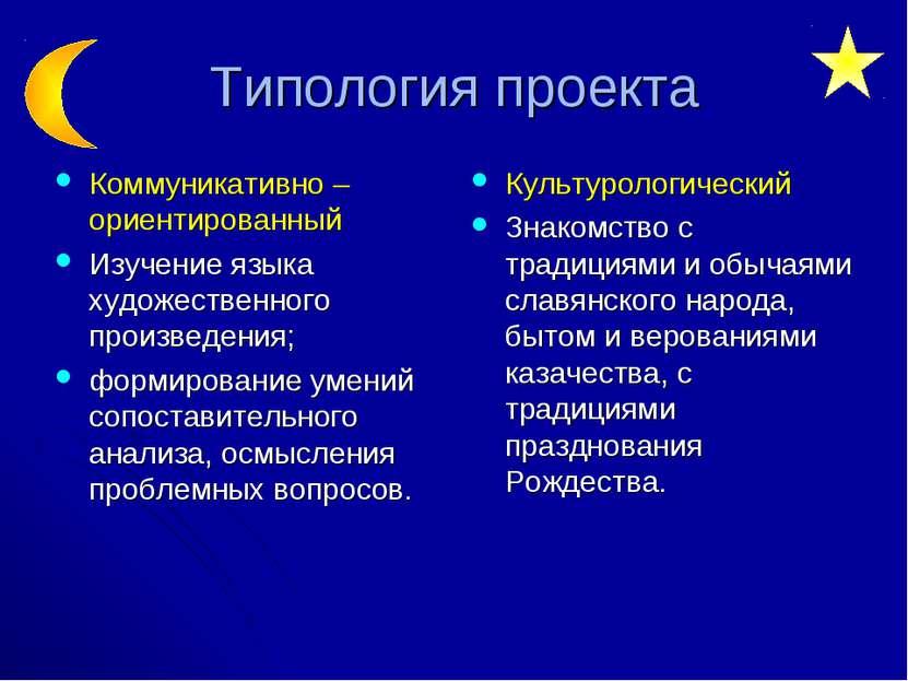 Типология проекта Коммуникативно – ориентированный Изучение языка художествен...