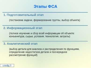 Этапы ФСА слайд 3 (постановка задачи, формирование группы, выбор объекта) (по...