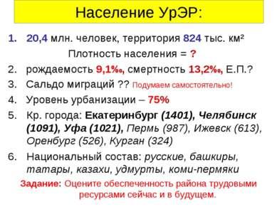 Население УрЭР: 20,4 млн. человек, территория 824 тыс. км² Плотность населени...