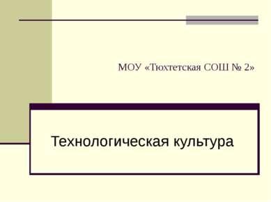МОУ «Тюхтетская СОШ № 2» Технологическая культура