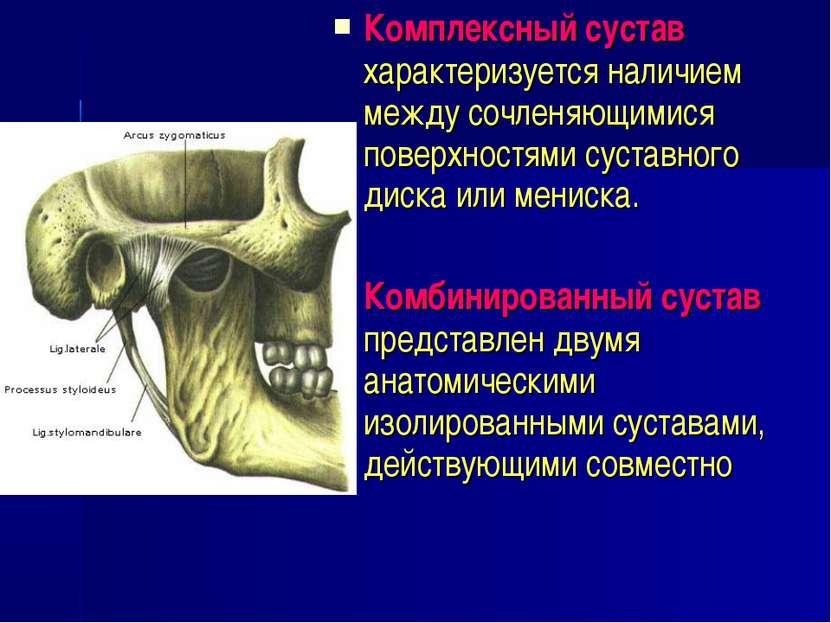 Комплексный сустав характеризуется наличием между сочленяющимися поверхностям...