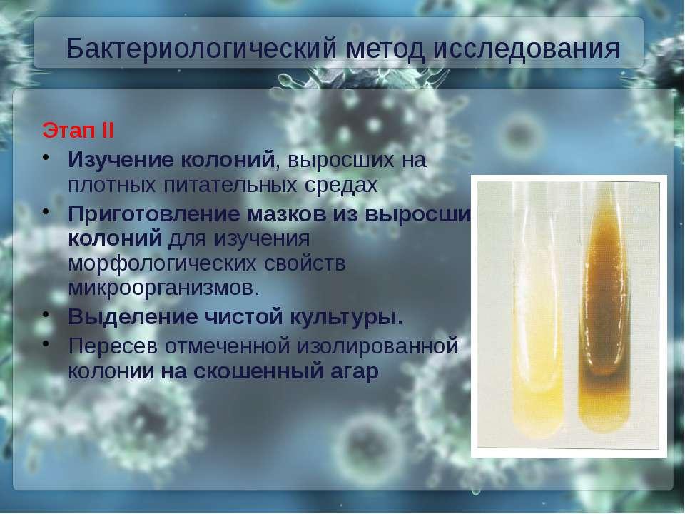 Бактериологический метод исследования Этап II Изучение колоний, выросших на п...