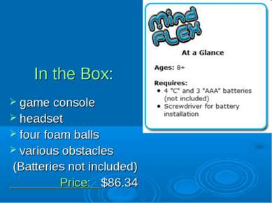In the Box: game console headset four foam balls various obstacles (Batteries...