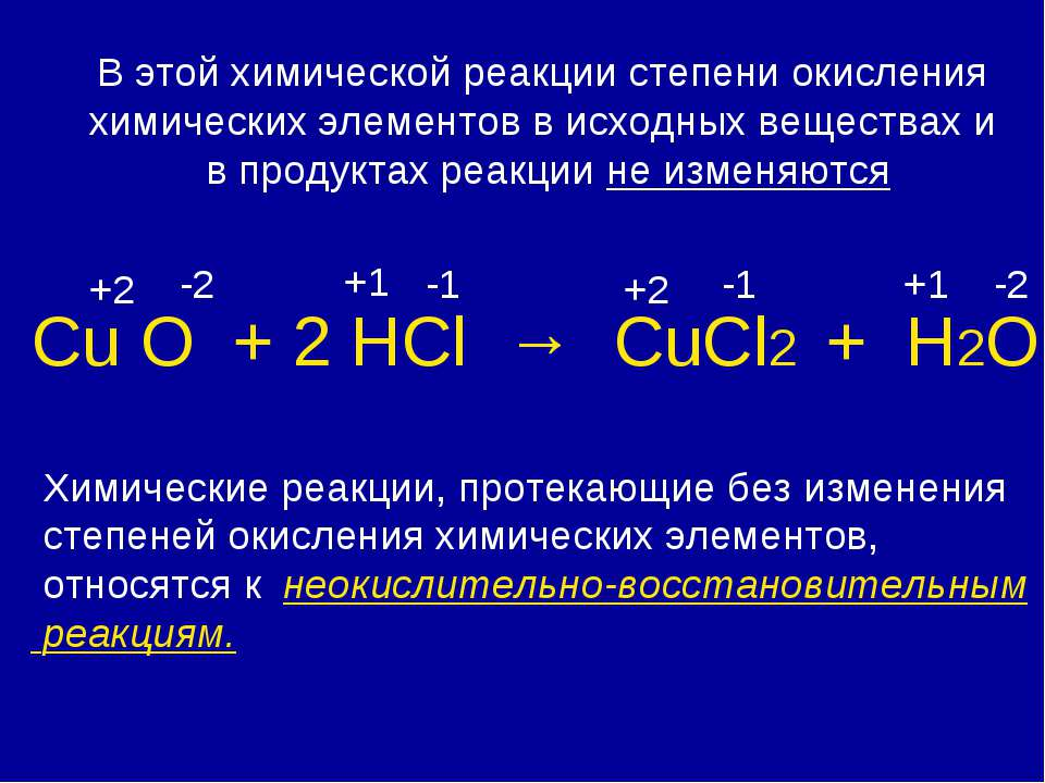 Сu О + 2 HCl → CuCl2 + H2O +2 -2 +1 -1 +2 -1 +1 -2 Химические реакции, протек...