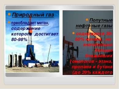 Природный газ преобладает метан, содержание которого достигает 80-98% Попутны...
