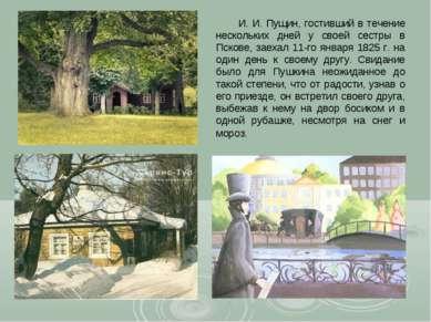 И. И. Пущин, гостивший в течение нескольких дней у своей сестры в Пскове, зае...