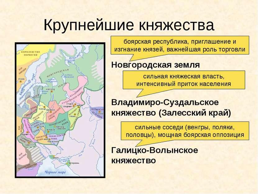 Крупнейшие княжества Новгородская земля Владимиро-Суздальское княжество (Зале...