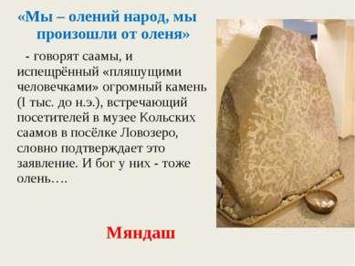 «Мы – олений народ, мы произошли от оленя» - говорят саамы, и испещрённый «пл...