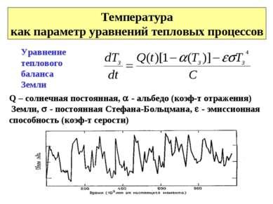 Температура как параметр уравнений тепловых процессов Уравнение теплового бал...