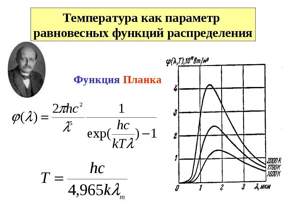 Температура как параметр равновесных функций распределения Функция Планка
