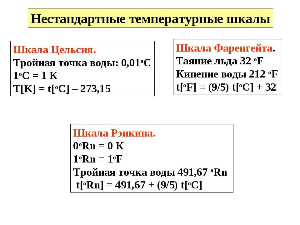 Нестандартные температурные шкалы Шкала Цельсия. Тройная точка воды: 0,01оС 1...