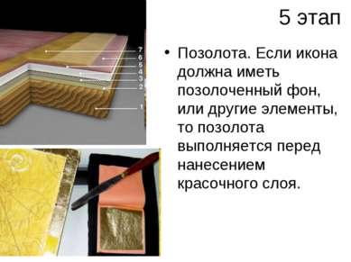 5 этап Позолота. Если икона должна иметь позолоченный фон, или другие элемент...