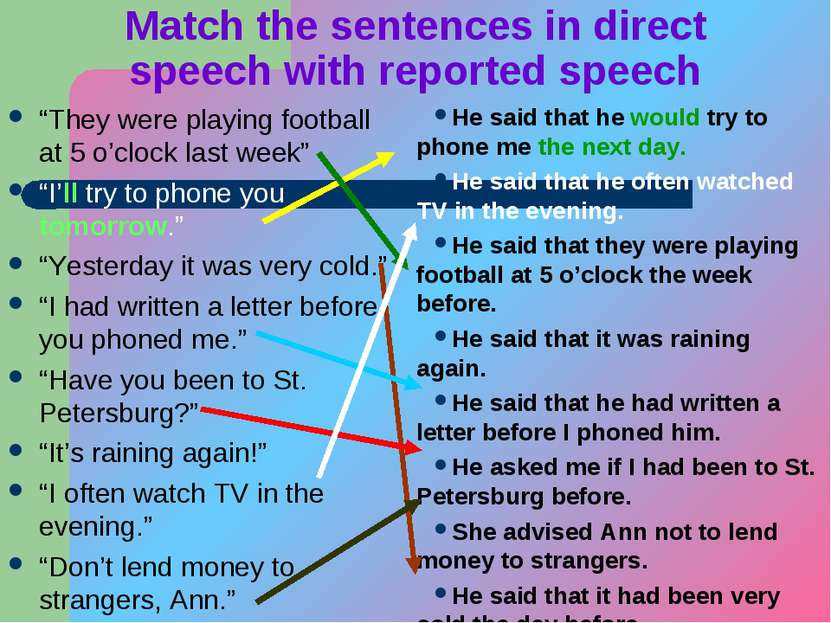 "Match the sentences in direct speech with reported speech ""They were playing ..."