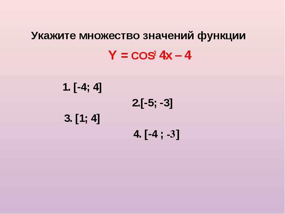 Укажите множество значений функции Y = COS2 4x – 4 1. [-4; 4] 2.[-5; -3] 3. [...