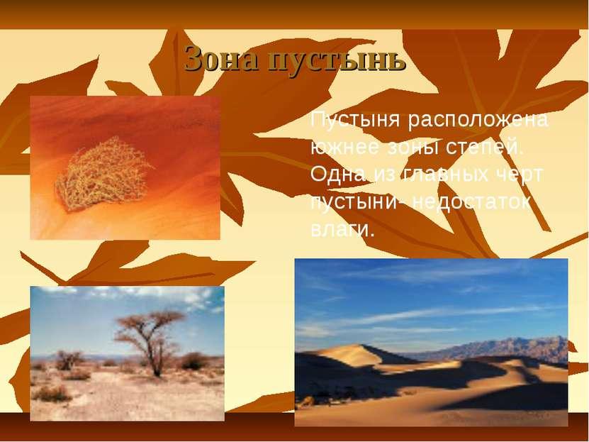 Зона пустынь Пустыня расположена южнее зоны степей. Одна из главных черт пуст...