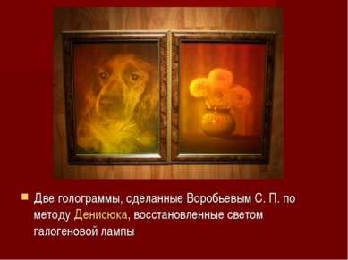 Две голограммы, сделанные Воробьевым С. П. по методуДенисюка, восстановленны...