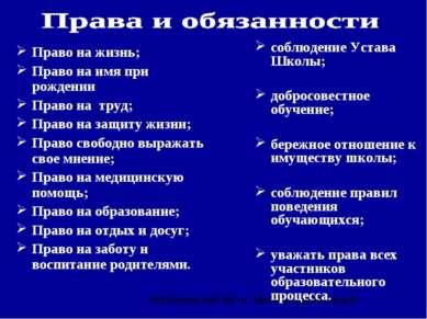 Право на жизнь; Право на имя при рождении Право на труд; Право на защиту жизн...
