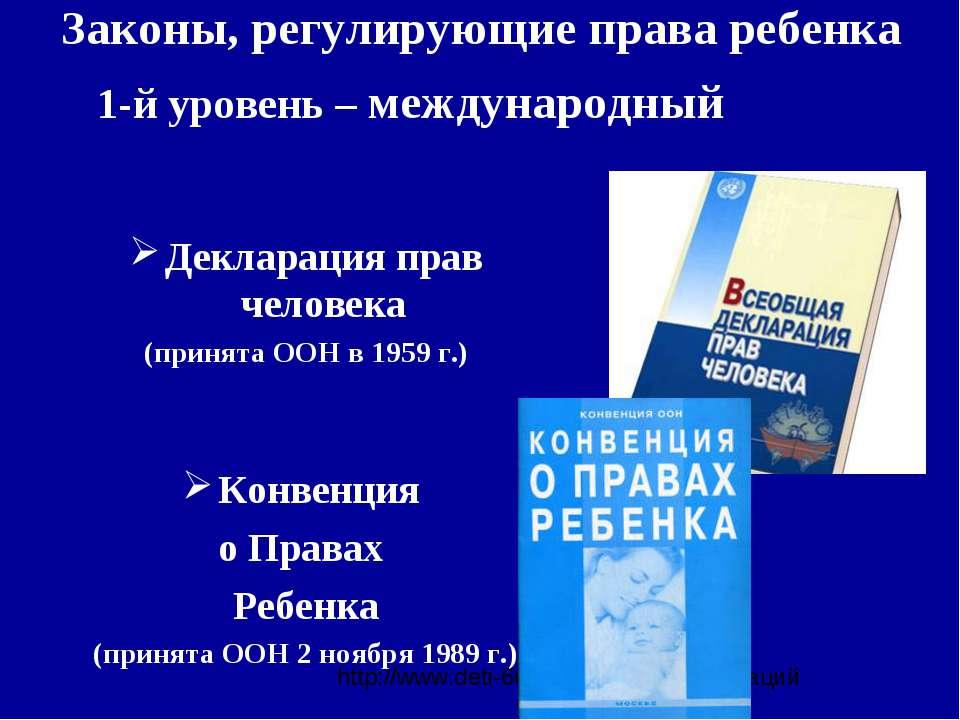 Законы, регулирующие права ребенка Декларация прав человека (принята ООН в 19...