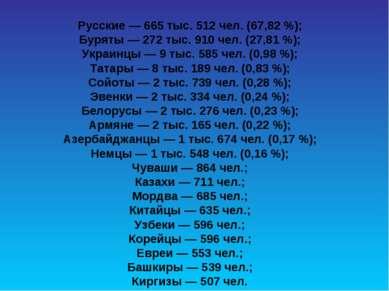 Русские— 665 тыс. 512 чел. (67,82%); Буряты— 272 тыс. 910 чел. (27,81%); ...