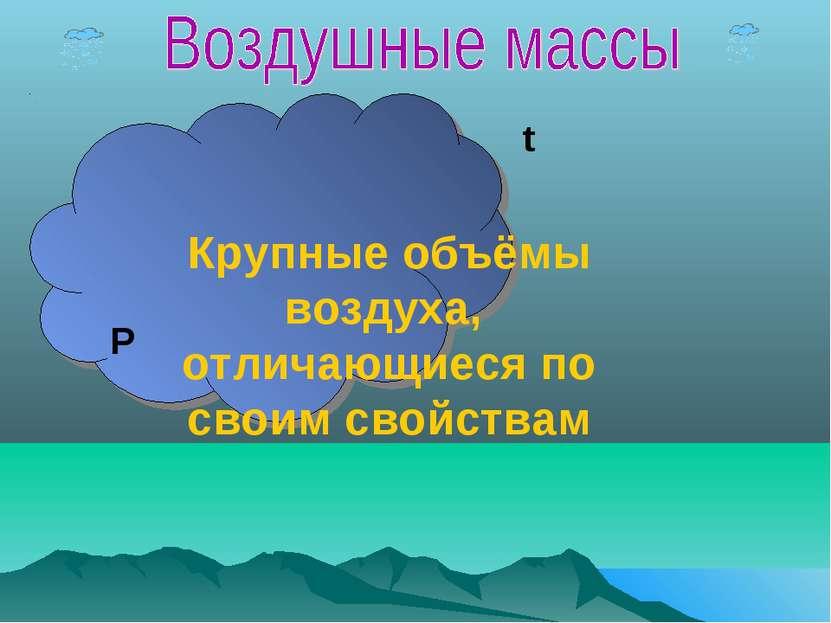 Крупные объёмы воздуха, отличающиеся по своим свойствам t P