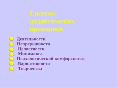 Система дидактических принципов Деятельности Непрерывности Целостности Минима...