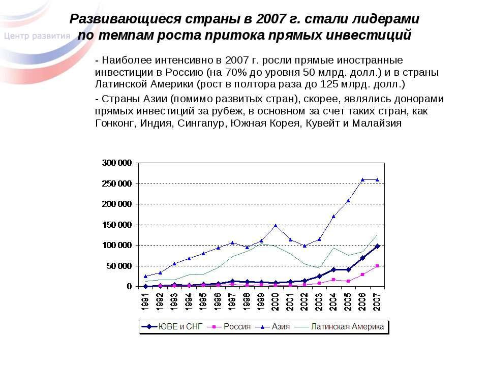 Развивающиеся страны в 2007 г. стали лидерами по темпам роста притока прямых ...