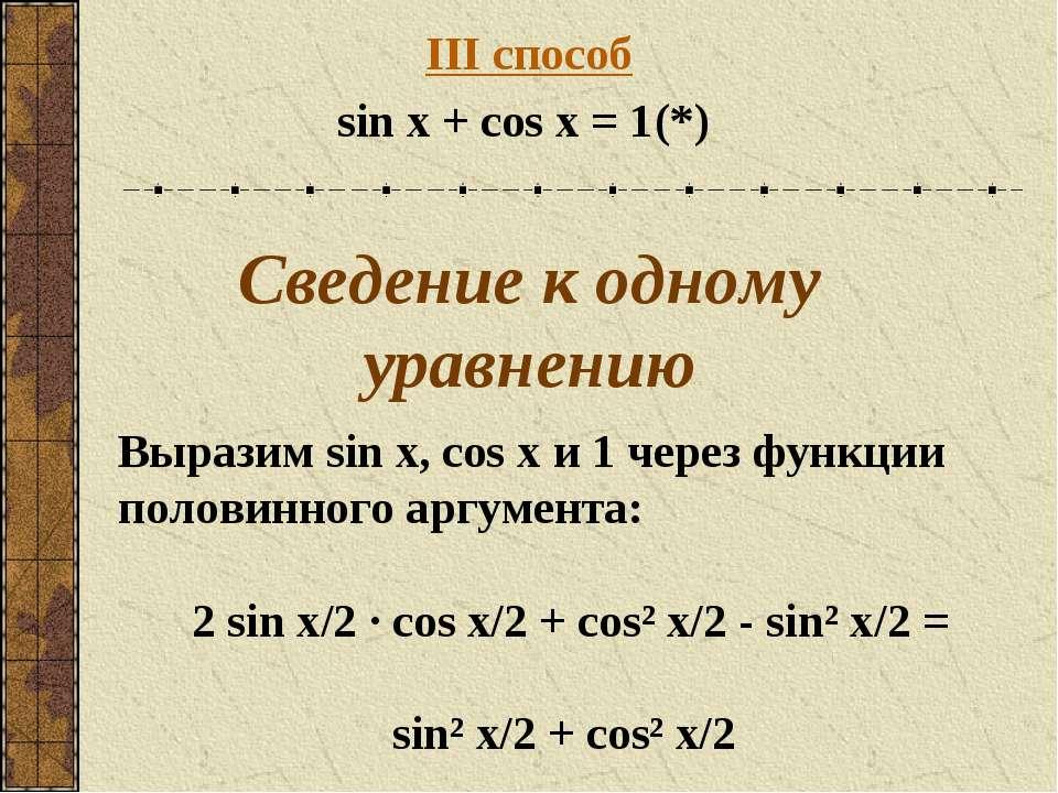III способ sin x + cos x = 1 (*) Сведение к одному уравнению Выразим sin x, c...