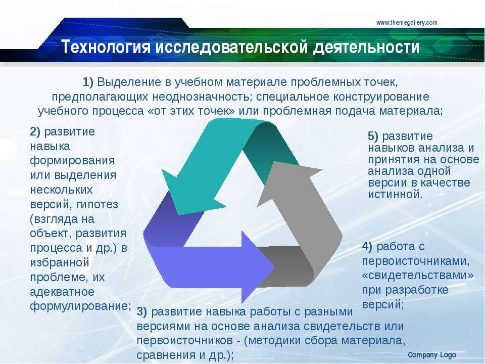 www.themegallery.com Company Logo Технология исследовательской деятельности 4...
