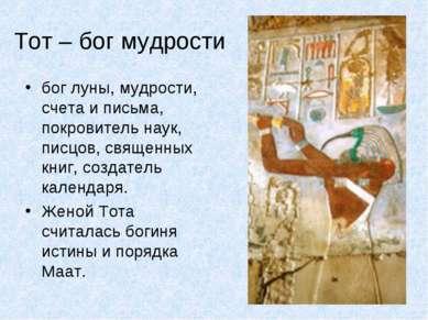 Тот – бог мудрости бог луны, мудрости, счета и письма, покровитель наук, писц...