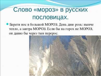 Слово «мороз» в русских пословицах. Береги нос в большой МОРОЗ. День дню розь...