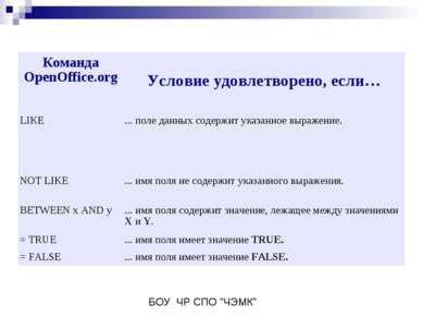 Команда OpenOffice.org Условие удовлетворено, если… LIKE ... поле данных соде...