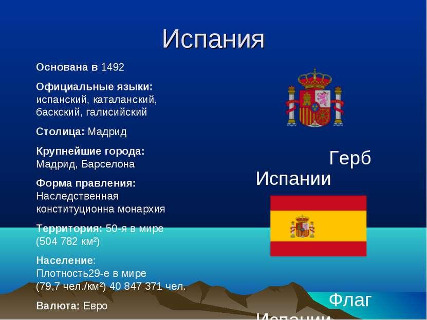 Испания Герб Испании Флаг Испании Основана в 1492 Официальные языки: испански...