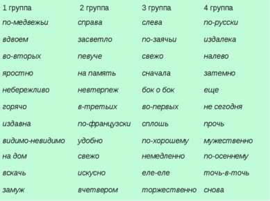 1 группа 2 группа 3 группа 4 группа по-медвежьи справа слева по-русски вдвоем...