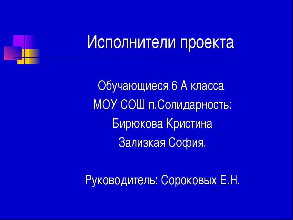 Исполнители проекта Обучающиеся 6 А класса МОУ СОШ п.Солидарность: Бирюкова К...