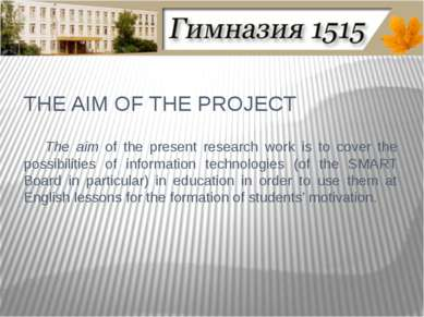 THE AIM OF THE PROJECT The aim of the present research work is to cover the p...