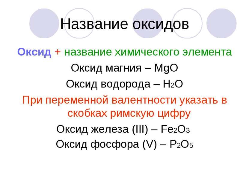 Название оксидов Оксид + название химического элемента Оксид магния – МgО Окс...
