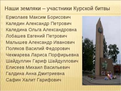 Наши земляки – участники Курской битвы Ермолаев Максим Борисович Каледин Алек...