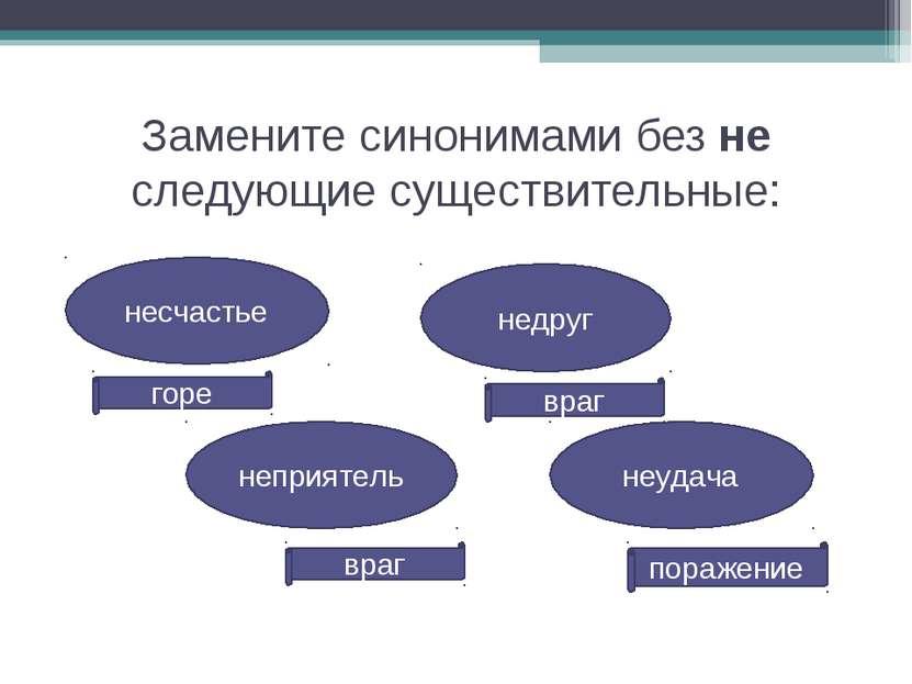 горе несчастье Замените синонимами без не следующие существительные: недруг н...
