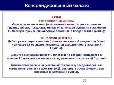 Консолидированный баланс АКТИВ I. Внеоборотные активы Финансовые вложения (ис...