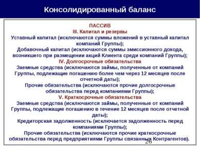 Консолидированный баланс ПАССИВ III. Капитал и резервы Уставный капитал (искл...