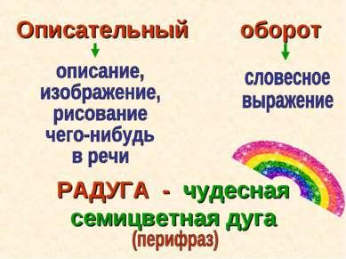 Описательный оборот РАДУГА - чудесная семицветная дуга