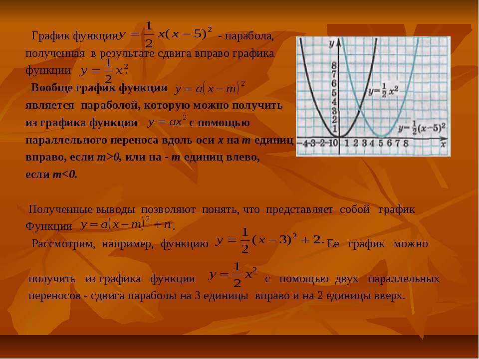 График функции - парабола, полученная в результате сдвига вправо графика функ...