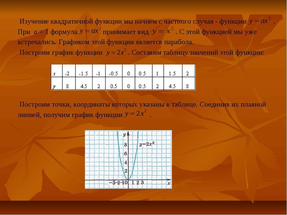 Изучение квадратичной функции мы начнем с частного случая - функции . При а =...