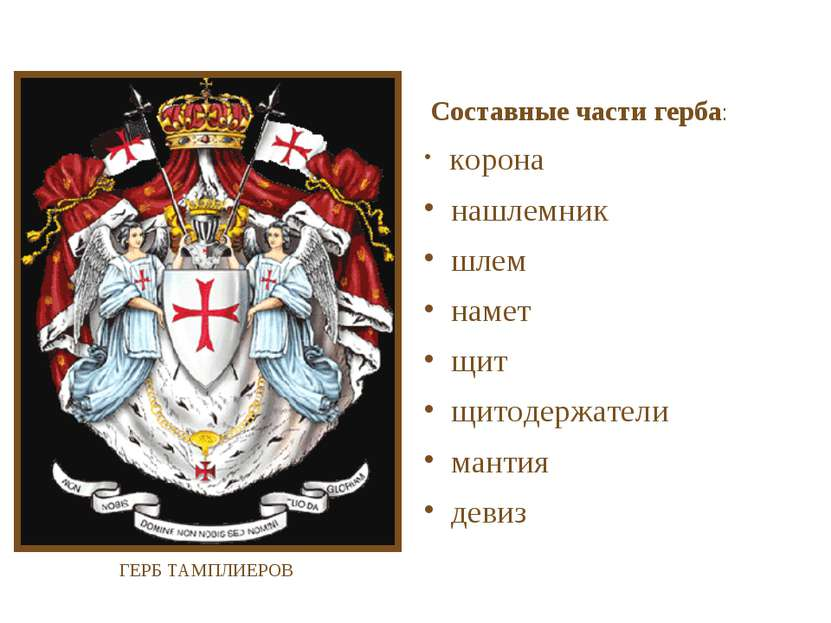 Составные части герба: корона нашлемник шлем намет щит щитодержатели мантия д...