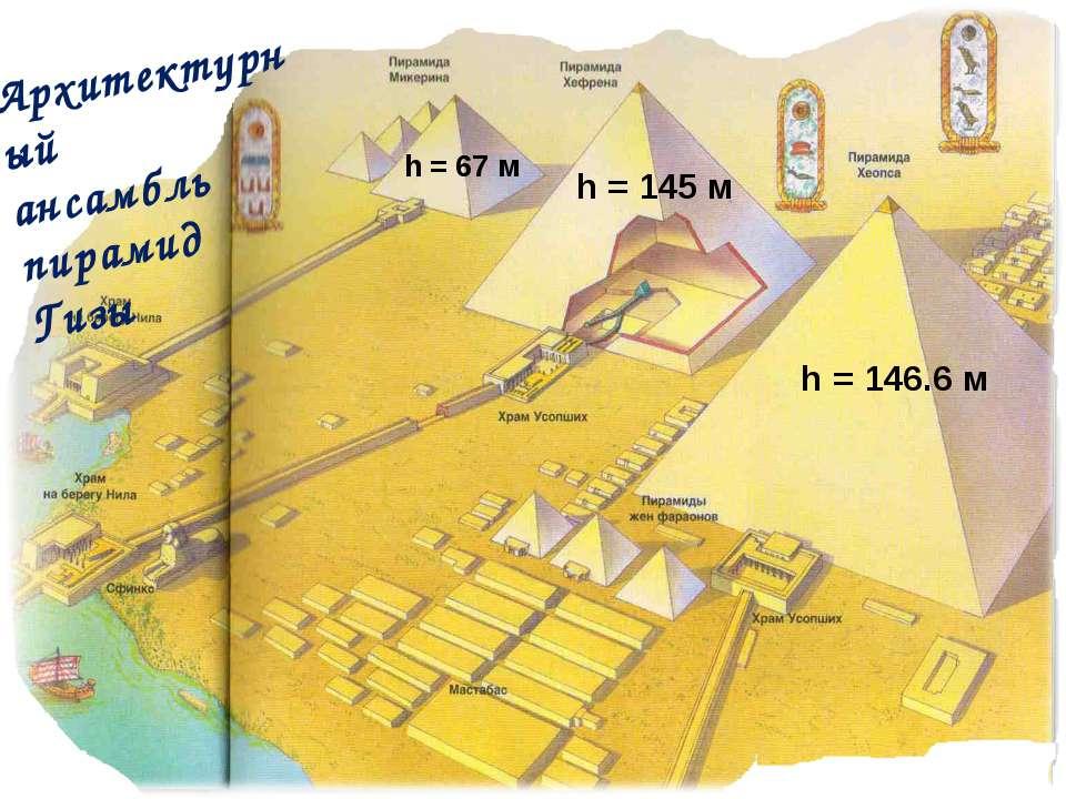 Архитектурный ансамбль пирамид Гизы h = 145 м h = 67 м